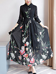 Feminino Chifon Vestido,Para Noite Tamanhos Grandes Moda de Rua Floral Colarinho de Camisa Longo Manga Longa Poliéster Outono Cintura