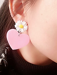 Women's Kid's Stud Earrings Acrylic Cute Style Personalized China Heart Jewelry For Halloween Club