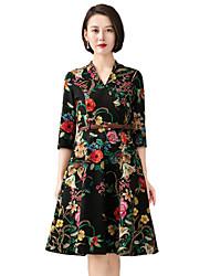 Для женщин На выход На каждый день Простое Уличный стиль Изысканный А-силуэт Оболочка С летящей юбкой Платье Цветочный принт,