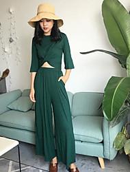 Mujer Simple Casual/Diario Verano T-Shirt Pantalón Trajes,Escote Redondo Un Color Manga Tres Cuartos Microelástico