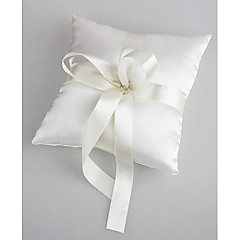 Wedding Ring Pillow In White Satin With Pearl