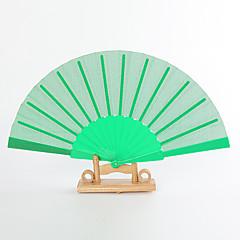 Green Silk Hand Fans (set of 6)