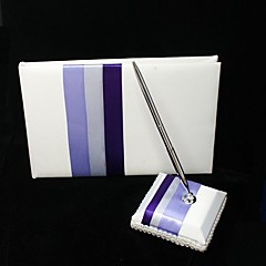 Stripe De Sign Wedding Guest Book And Pen Set In Satin Sign In Book