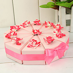 Cake Slice Box With Pink And White Flowers (Set of 10)