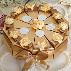 Gold Cake Favor Box With Flowers (Set of 10)