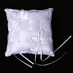 Plaid Ring Pillow In White Satin And Rayon With Bow And Faux Pearl