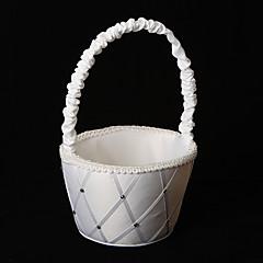 Diamant-Raster weißem Satin Blumenmädchen Korb