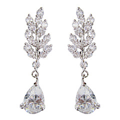 Gorgeous White Platinum Plated With  Drops Shape Cubic Zirconia Earrings