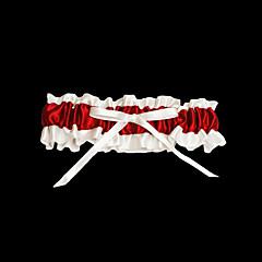 Strumpfband Satin Schleife Rot