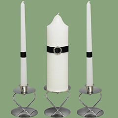 Stunning Rhinestone Wedding Unity Candles Set-White (Candle Holders Not Included)