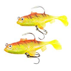 """2 יח ' פתיון רך פתיונות דיג פיתיון רך ורוד צהוב g/אונקיה,80 mm/3-1/4"""" אינץ ',פלסטיק רך עופרת דיג בים דייג במים מתוקים דיג בס"""