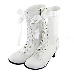 נעליים לוליטה מתוקה עבודת יד עקב גבוה נעליים אחיד 6 CM לבן ל נשים עור פוליאוריתן