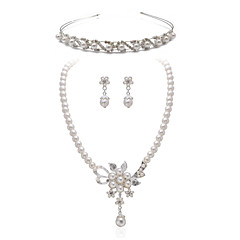 Gorgeous Clear Crystals With Imitation Pearls Wedding Jewelry Set,Including Necklace,Earrings And Tiara