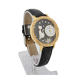 Women's Leather Quartz Movement Glass Round Shape with Rhinestone Dress Watch