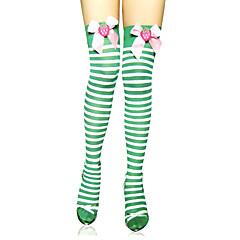 Meias e Meias-Calças Doce Lolita Lolita Verde Lolita Acessórios Meias Finas Listrado Para Feminino Náilon