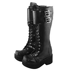 Sapatos Punk Confeccionada à Mão Plataforma Sapatos Cor Única 6.5 CM Preto Para Feminino Couro PU/Couro de Poliuretano