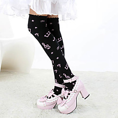 Meias e Meias-Calças Doce Lolita Lolita Preto / Rosa Lolita Acessórios Meias Finas Estampado Para Feminino Algodão