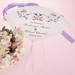 ventilador de mão personalizada pérola papel - flor vermelha (conjunto de 12)