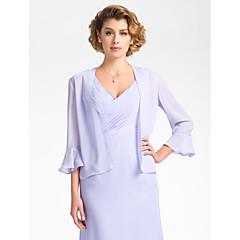 Wedding  Wraps Coats/Jackets 3/4-Length Sleeve Chiffon Sky Blue Wedding / Party/Evening Bell Open Front