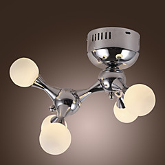 100W kunstnerisk flush mount med 5 lys i hvide verden (G4 pære base)