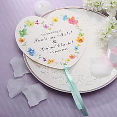 Personalizado em forma de coração ventilador de mão de papel - Flor da Primavera (conjunto de 12)