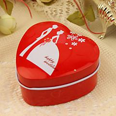 """""""Feliz casamento"""" vermelho de estanho favor coração (conjunto de 12)"""