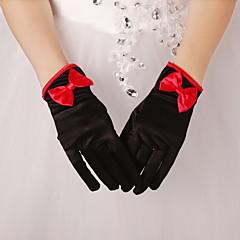 Wrist Length Fingertips Glove Satin Bridal Gloves / Party/ Evening Gloves Spring / Fall / Winter Black Bow