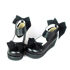 Sapatos Lolita Clássica e Tradicional Princesa Salto Plataforma Sapatos Laço 4.5 CM Preto Para Feminino Couro PU/Couro de Poliuretano