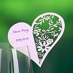 Place Cards and Holders Heart Haped Hollow-out Place Card For Wine Glass Card (Set of 12)