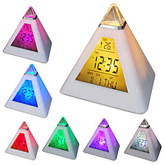 7 LED Colors Changing Pyramid Shaped Digital Alarm Clock Calendar Thermometer (White, 3xAAA)