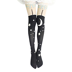 Meias e Meias-Calças Lolita Clássica e Tradicional Lolita Lolita Preto Lolita Acessórios Meias Finas Estampado Para Feminino Veludo