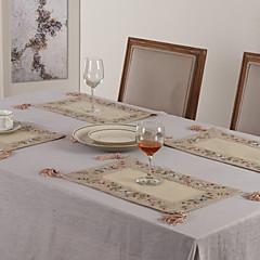 """11 """"x17"""" 6er Set beige Polyester floral Tischsets"""