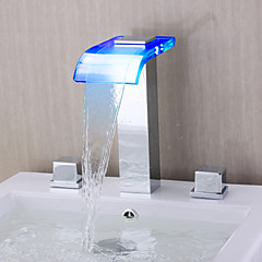 Modern Romeins bad LED / Waterval with  Keramische ventiel Twee handgrepen drie gaten for  Chroom , Badkraan