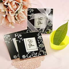 """Timeless Traditions"" Elegant Black & White Glass Photo Coasters (2 Pieces Set)"