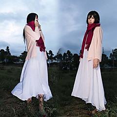 に触発さ 進撃の巨人 Mikasa Ackermann アニメ系 コスプレ衣装 コスプレスーツ ゼブラプリント コート ドレス スカーフ 用途 女性用