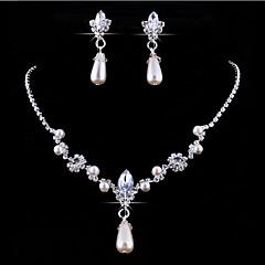 Schmuckset Anhängerketten Blumen individualisiert Europäisch Perle Krystall Strass Diamantimitate Aleación Tropfen Ohrringe Halskette Für