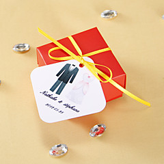 Gepersonaliseerde vierkante labels - Tuxedo en toga (set van 36)