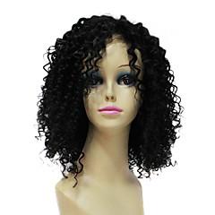 Charme 100% humano de Remy cabelo curto preto encaracolado do laço do cabelo peruca da parte dianteira