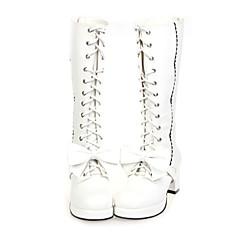 Sapatos Doce Confeccionada à Mão Salto Alto Sapatos Laço 6.5 CM Branco / Preto Para Feminino Couro PU/Couro de Poliuretano