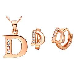 סט תכשיטים לנשים יום שנה / יום הולדת / מתנה / מסיבה / יומי / אירוע מיוחד סטי תכשיטים זהב / כסף זירקונה מעוקבת עגילים / שרשראות מוצג כתמונה
