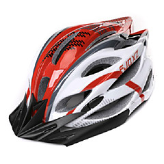 FJQXZ Unisex Outdoor PC+EPS 22 Vents Red+White Cycling Hlemets