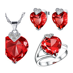 Charming Silver-Plated Cubic Zirconia Heart Shaped Women's Jewelry Set(Necklace,Earrings,Ring)(Red,Purple)