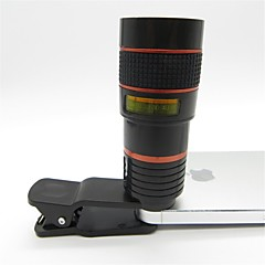 Universal 8X Telephoto Lens with Clip for Cellphone iPhone Samsung HTC Smart Phone Red + Black