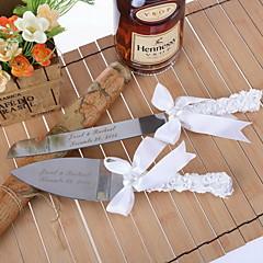 Servieren Sets Hochzeitstorte Messer personalisierte Kuchen Servieren mit Bogen und Herz-Perlen-Set