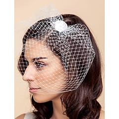 Voiles de Mariée Une couche Voiles Blush / Voile de cage à oiseaux Tulle Blanc / Noir A-ligne, Robe de bal, Princesse, Fourreau, Sirène