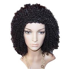 利用可能な14インチのアフリカ系アメリカ人のかつらCulry毛レースフロントのウィッグアジャスタブルキャップその他の色
