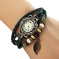 Women's Watch Bohemian Strap Watch Leaf Pendent Leather Weave Bracelet Cool Watches Unique Watches Fashion Watch