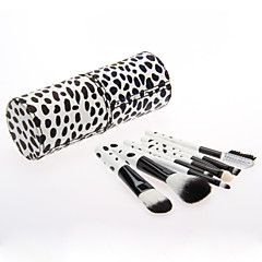 8PCS Wooden Handle Makeup Brush Set with Cow Pattern Cylinder Tube (More Color)