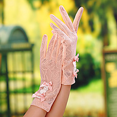 Wrist Length Fingertips Glove Lace Bridal Gloves Party/ Evening Gloves General Purposes & Work Gloves Spring Summer Fall Bow