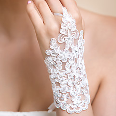 Wrist Length Fingerless Glove Lace Bridal Gloves / Party/ Evening Gloves Spring / Summer / Fall / Winter White Rhinestone